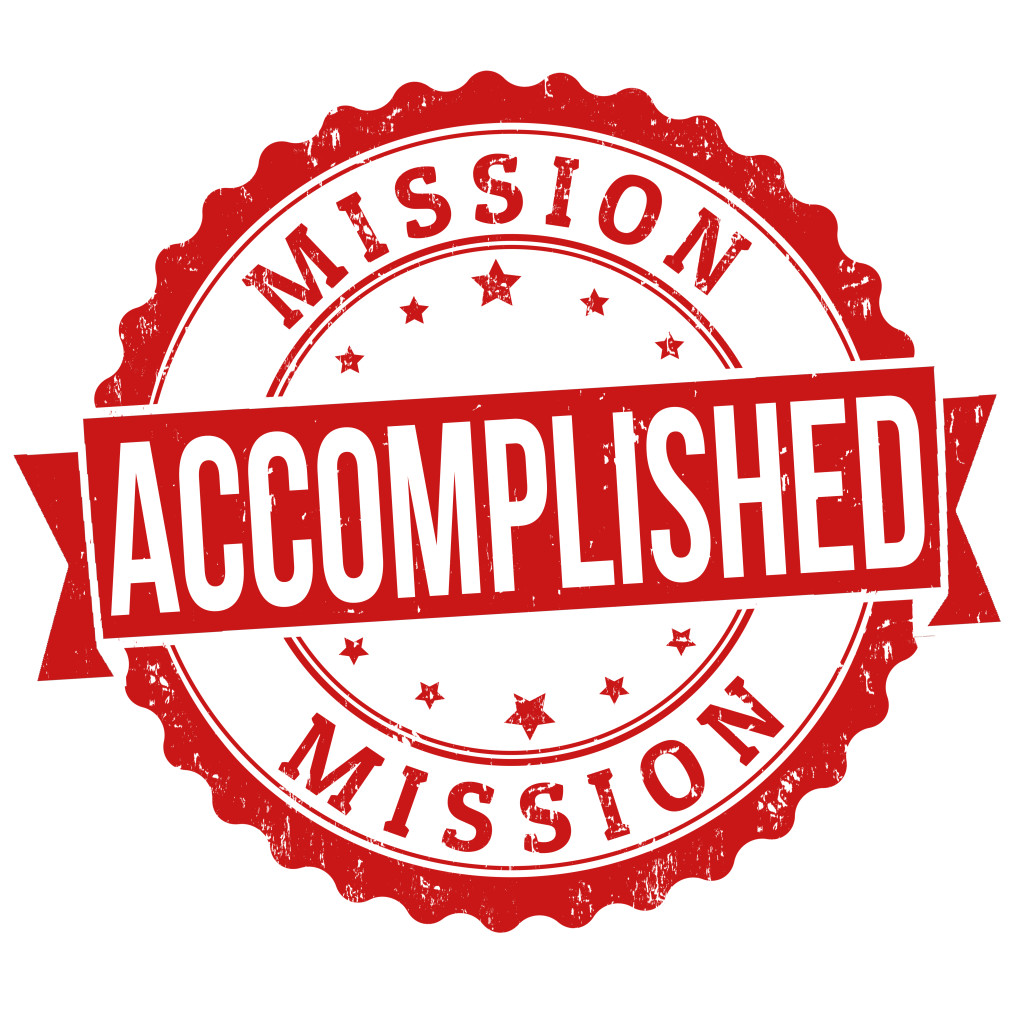 Mission accomplished stamp